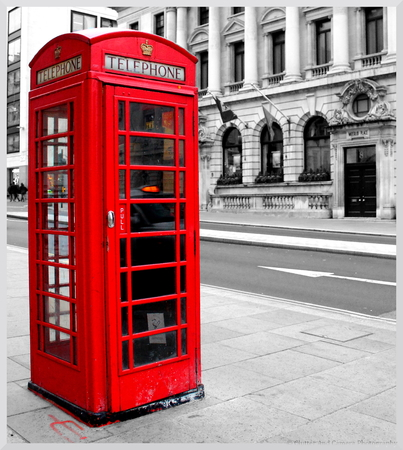 phonebooth: Nothing But Red, Phone booth, London, United Kingdom Stock Photo