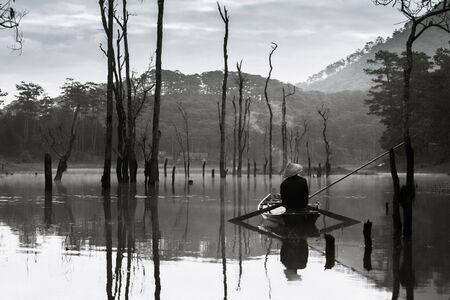 fisher: Lonely fisher man, Dalat Vietnam