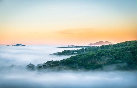 lat: Da Lat, Vietnam, sun rise in fog Stock Photo