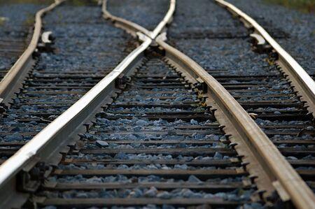 Rail road tracks crossing each other Reklamní fotografie