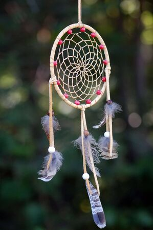 A picture of a dreamcatcher taken outside in a forest Banco de Imagens