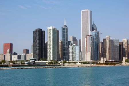A view of the Chicago skyline as seen from the Navy Pier Stock Photo