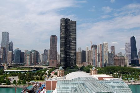 A view of the Chicago skyline as seen from the Navy Pier photo