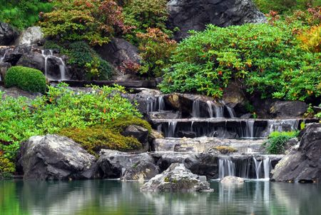 Picture of some small waterfall at a Japanese Garden