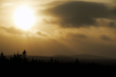 very cold: A sunset of a very cold day in northern Canada Stock Photo