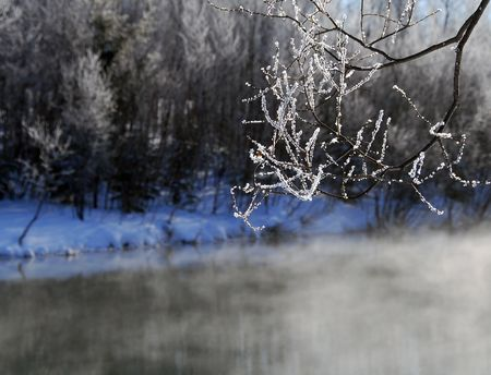 A winter landscape showing a foggy river on a cold day Stock Photo - 2396199
