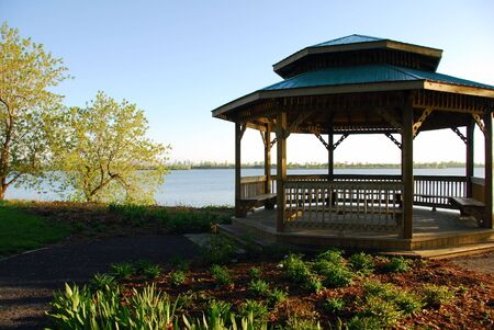 Picture of a gazebo with the Montreal skyline in the distance