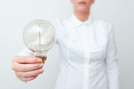 Lady Holding Lamp With Formal Outfit Presenting New Ideas For Project, Business Woman Showing Bulb With One Hand Exhibiting New Technologies, Lightbulb Presenting Another Openion