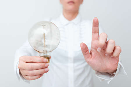 Lady Pointing At Screen Holdnig Lamp In Formal Outfit Presenting New Ideas For Project, Business Woman And Spotting Monitor With Bulb Showing Late Technologies