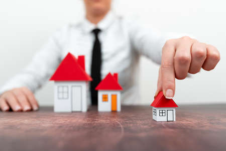 Upgrade Your House Represented By Lady In Outfit, Business Woman Presenting Plans For Home Change, Diffrent Apartment Plan Sizes Comparison, Multiple Selection Of Contracts