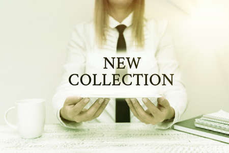Text sign showing New Collection. Business overview contain a set of freshlydesigned clothes to be released soon Intern Starting A New Job Post, Student Presenting Report Studies Stock Photo