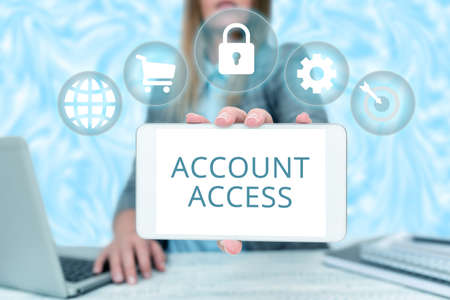 Text caption presenting Account Access. Word for full privilege for the owners to manage their an individualal data Business Woman Sitting In Office Holding Mobile Displaying Futuristic Ideas.