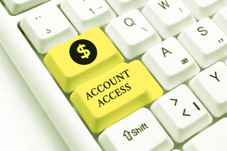 Handwriting text Account Access. Business showcase full privilege for the owners to manage their an individualal data Typewriting End User License Agreement, Typing New Network Password Foto de archivo