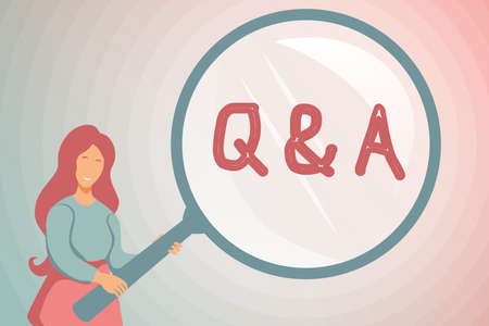 Conceptual display Q And A. Business approach in which an individual asks questions and another one to answers them Abstract Investigation And Finding Clues, Searching For Answers Concepts