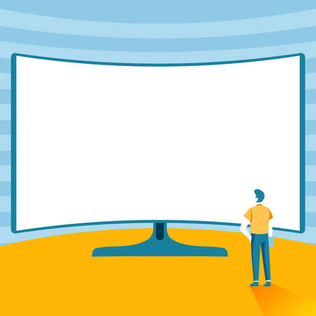 Man Standing Illustration Standing Infront Of Huge Display Monitor, Gentelman Watching Extra Large Projector Presentation Screen, Adult Next To Big Television.