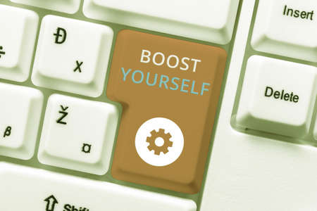 Writing displaying text Boost Yourself. Business overview delivering a lift up to someone making them energetic again Abstract Creating Safe Internet Experience, Preventing Digital Virus Spread Stock Photo