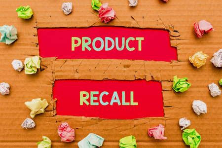 Conceptual display Product Recall. Word for request to return the possible product issues to the market Forming New Thoughts Uncover Fresh Ideas Accepting Changes