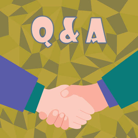 Inspiration showing sign Q And A. Internet Concept in which an individual asks questions and another one to answers them Abstract People Accepting Deals, Image Displaying Negotiations Agreement Imagens