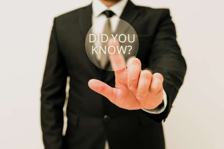Hand writing sign Did You Know Question. Concept meaning when you are asking someone if they know fact or event Presenting New Plans And Ideas Demonstrating Planning Process