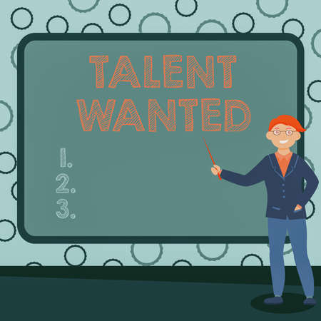 Handwriting text Talent Wanted. Business approach method of identifying and extracting relevant gifted Abstract Professor Giving Lectures, Explaining And Reporting Concept Foto de archivo