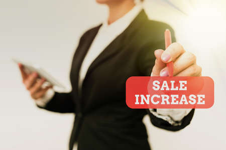 Handwriting text Sale Increase. Business approach Average Sales Volume has Grown Boost Income from Leads Presenting New Technology Ideas Discussing Technological Improvement Stock Photo