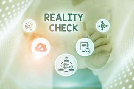 Writing displaying text Reality Check. Internet Concept making the an individual recognize the real state of the situation Lady In Uniform Standing Holding Tablet Typing Futuristic Technologies. Stock Photo
