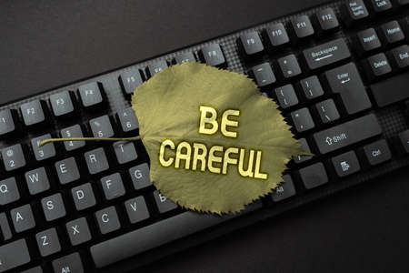 Text caption presenting Be Careful. Business idea making sure of avoiding potential danger mishap or harm Programmer Creating New Software, Coder Typing Programming Language