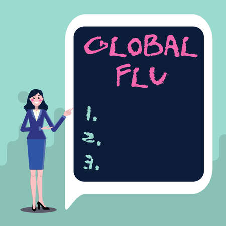Handwriting text Global Flu. Word Written on Common communicable illness spreading over the worldwide fastly Displaying Important Informations, Presentation Of New Ideas Stock Photo