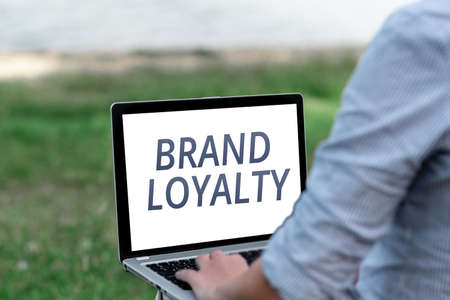 Text showing inspiration Brand Loyalty. Business showcase positive feelings to a brand and purchase the same product Voice And Video Calling Capabilities Connecting People Together Stockfoto