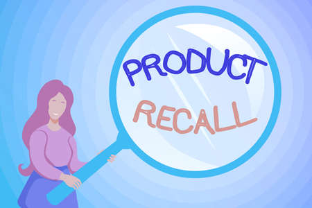 Text caption presenting Product Recall. Word Written on request to return the possible product issues to the market Abstract Investigation And Finding Clues, Searching For Answers Concepts