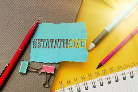 Writing displaying text Hashtag Stay at home. Concept meaning a trending label in social media related to the coronvirus outbreak Flashy School And Office Supplies Bright Teaching And Learning