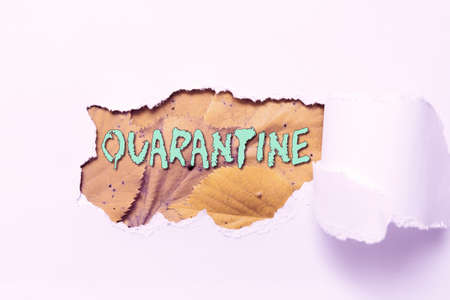 Text sign showing Quarantine. Business approach restraint upon the activities of an individual or the transport of goods Tear on sheet reveals background behind the front side