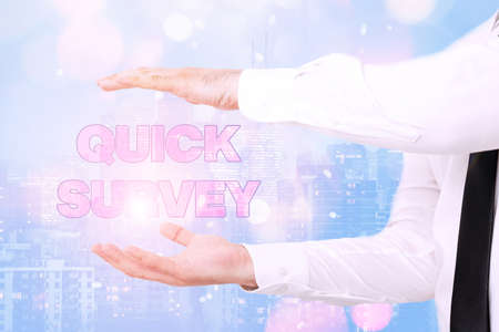 Handwriting text Quick Survey. Business idea Conduct fast check on condition value situation of something Inspirational business technology concept with copy space