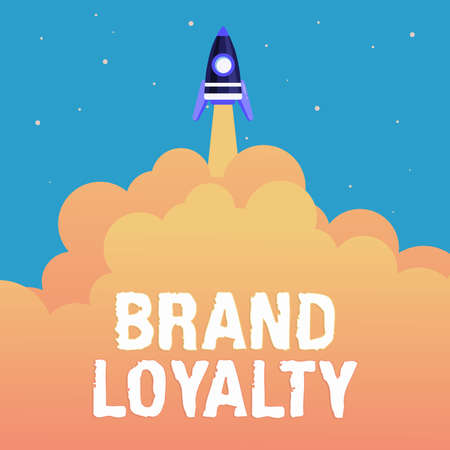 Sign displaying Brand Loyalty. Internet Concept positive feelings to a brand and purchase the same product Abstract Reaching Top Level, Rocket Science Presentation Designs Stockfoto
