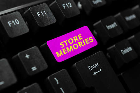Hand writing sign Store Memories. Business overview a process of inputting and storing data previously acquired Typing Character Background Story, Creating New Social Media Account Stock Photo