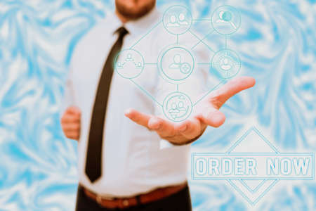 Writing displaying text Order Now. Business concept confirmed request by one party to another to buy sell Gentelman Uniform Standing Holding New Futuristic Technologies.