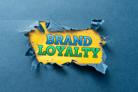 Text showing inspiration Brand Loyalty. Word Written on positive feelings to a brand and purchase the same product Thinking New Writing Concepts, Breaking Through Writers Block
