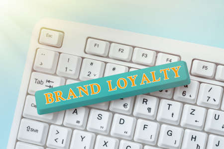 Handwriting text Brand Loyalty. Business overview positive feelings to a brand and purchase the same product Typing Character Background Story, Creating New Social Media Account