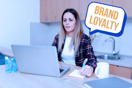 Inspiration showing sign Brand Loyalty. Word Written on positive feelings to a brand and purchase the same product Abstract Online Conference Discussion, Digital Classroom Ideas
