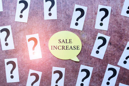 Text showing inspiration Sale Increase. Business approach Average Sales Volume has Grown Boost Income from Leads Progress In Solving Problems Breakthrough New Designs And Ideas