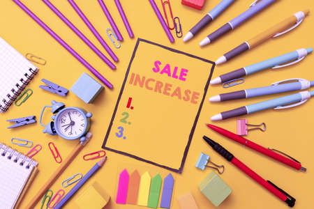 Writing displaying text Sale Increase. Business showcase Average Sales Volume has Grown Boost Income from Leads Flashy School And Office Supplies Bright Teaching And Learning Collections