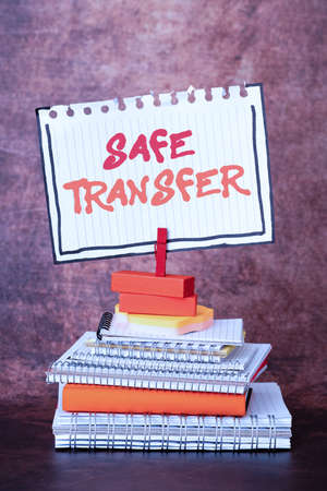 Conceptual caption Safe Transfer. Concept meaning Wire Transfers electronically Not paper based Transaction Organized And Neat Sorting Arrangement Files And Document Storing Ideas