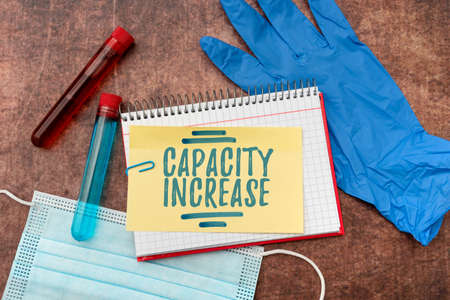 Writing displaying text Capacity Increase. Business showcase meet an actual increase in demand, or an anticipated one Writing Prescription Medicine Laboratory Testing And Analyzing Infections