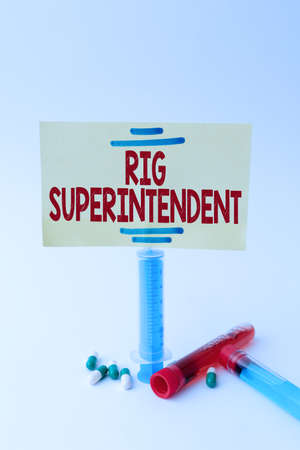 Handwriting text Rig Superintendent. Business approach Manage drilling operations to minimize rig down time Фото со стока