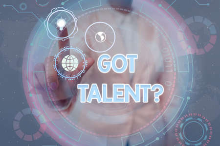 Inspiration showing sign Got Talentquestion. Internet Concept asking if got natural ability to be good at something Lady In Uniform Holding Tablet In Hand Virtually Tapping Futuristic Tech. Banque d'images
