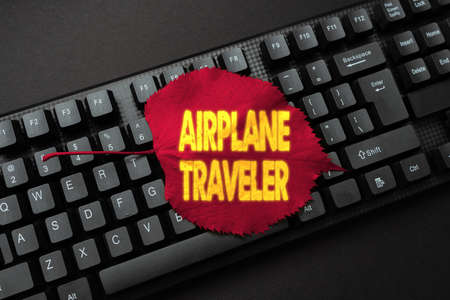 Text sign showing Airplane Traveler. Word for the action or process of making a journey by aircraft Abstract Online Typing Contest, Creating Funny Online Book Ideas Foto de archivo