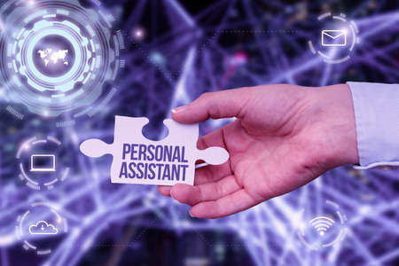 Inspiration showing sign Personal Assistant. Word Written on administrative assistant working exclusively for a person Hand Holding Jigsaw Puzzle Piece Unlocking New Futuristic Technologies.