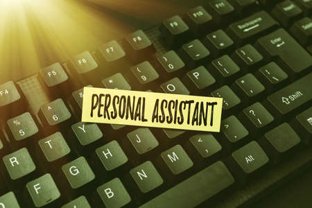 Conceptual display Personal Assistant. Conceptual photo administrative assistant working exclusively for a person Online Browsing And Exploring, Creating Blog Content, Sending New Messages