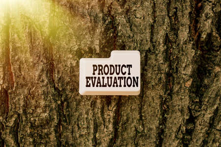 Text sign showing Product Evaluation. Business approach viability of the product with respect to market demand Thinking New Bright Ideas Renewing Creativity And Inspiration Фото со стока