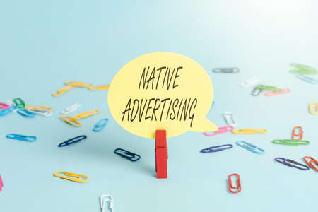Conceptual display Native Advertising. Business approach paid media where the ad experience follows the usual form Colorful Office Supplies Bright Workplace Stuff Workshop Materials